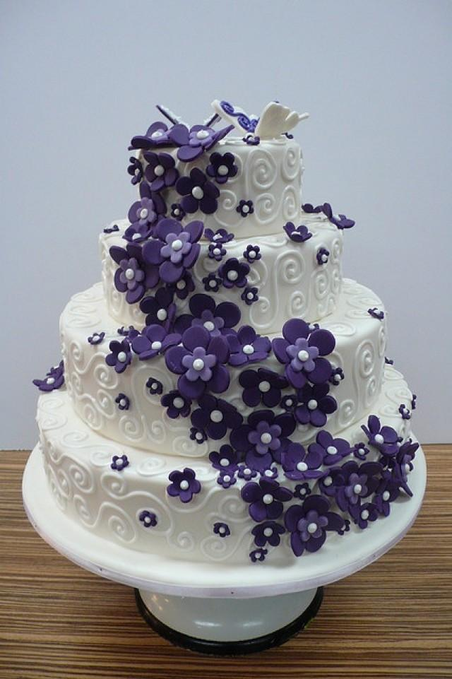 wedding cake pictures with purple flowers wedding cakes wedding cake ideas 2132684 weddbook 23452