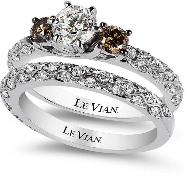 Le Vian Bridal White Certified Diamond And Chocolate Engagement Ring Set In 14k Gold 1 3 8 Ct T W 2167420 Weddbook