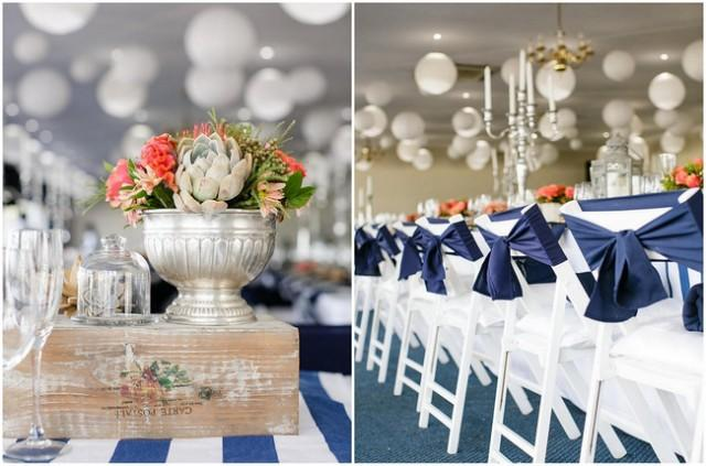 navy blue and coral wedding decorations nautical wedding in coral and navy weddbook 6114
