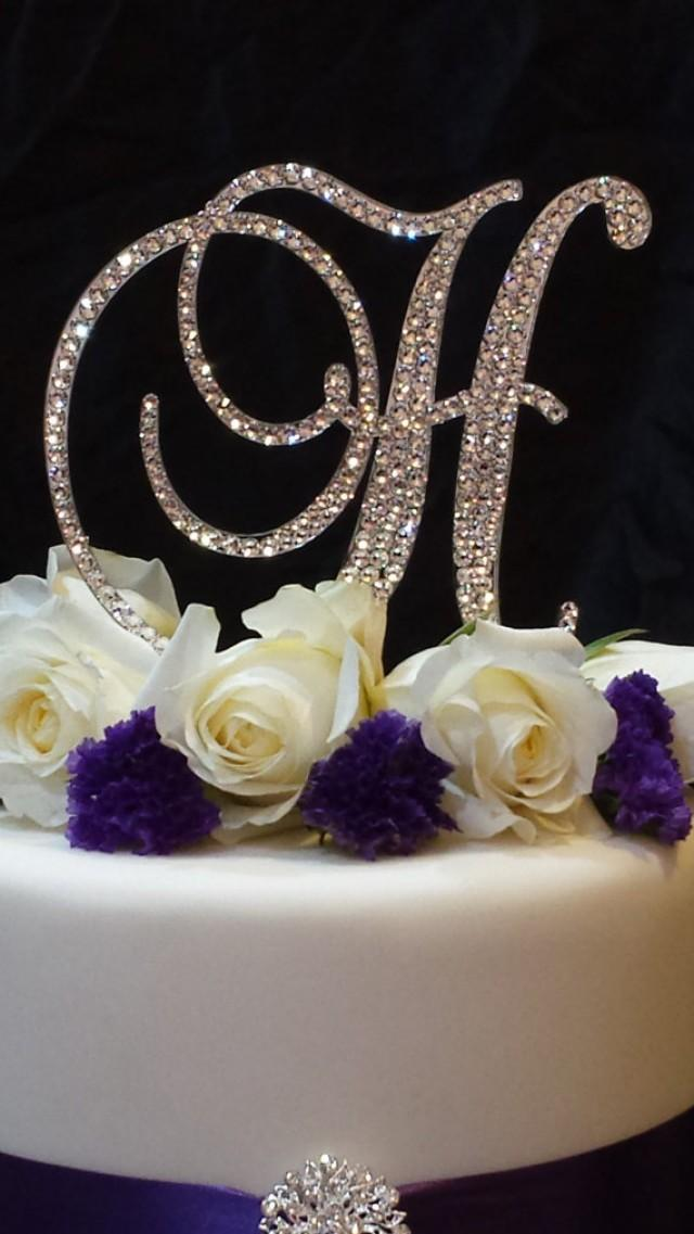 monogram letter cake toppers wedding cakes letter h swarovski monogram cake topper wedding 17513