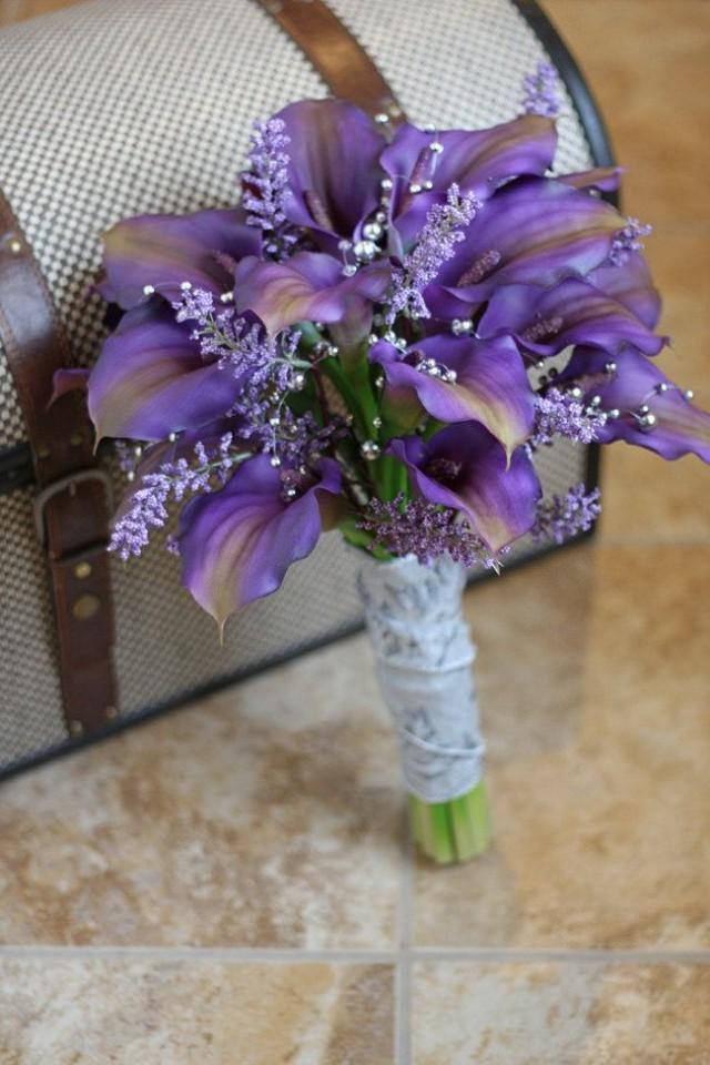 purple calla lily wedding bouquet reserved for real touch purple calla wedding 6884