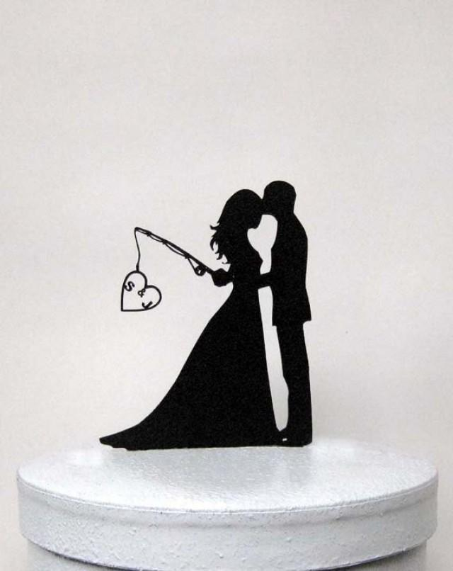 hooked on love wedding cake topper personalized wedding cake topper hooked on with 15312