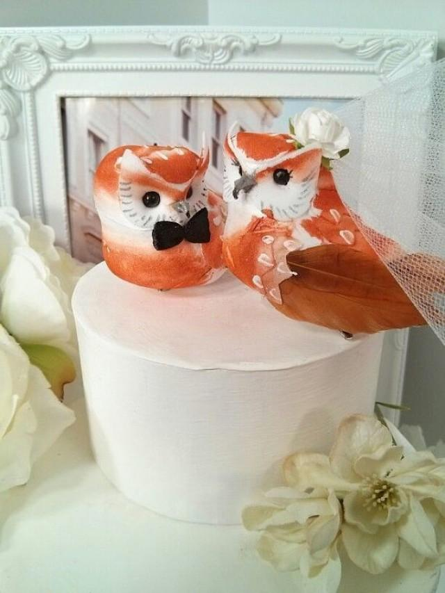 owl wedding cake toppers for sale wonderful rustic caramel color owls bird wedding 18102
