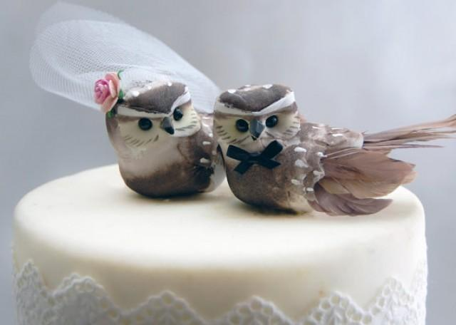 owl wedding cake toppers for sale owl cake topper in cocoa brown rustic and 18102