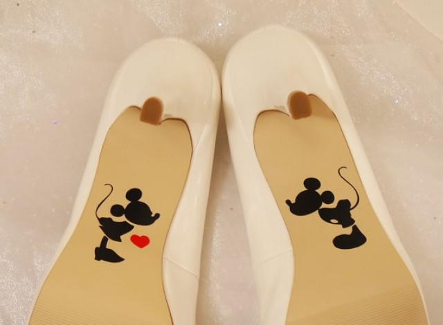 Wedding Photo Mickey And Minnie Shoe Decals High Heel