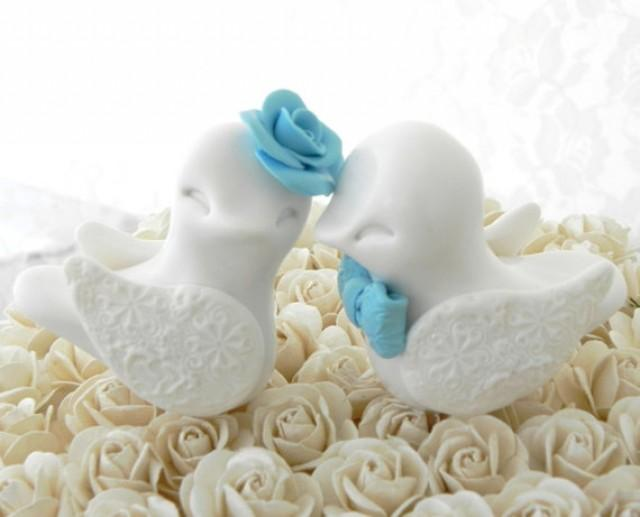 blue love birds wedding cake topper wedding cake topper birds white and pool 11994