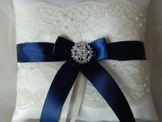 ring bearer pillow wedding ring bearer pillow navy blue and ivory satin and 29481