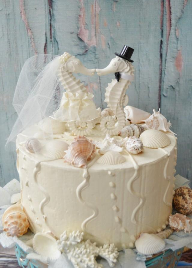 beach themed wedding cake toppers seahorse wedding cake topper ivory seahorse wedding 11154
