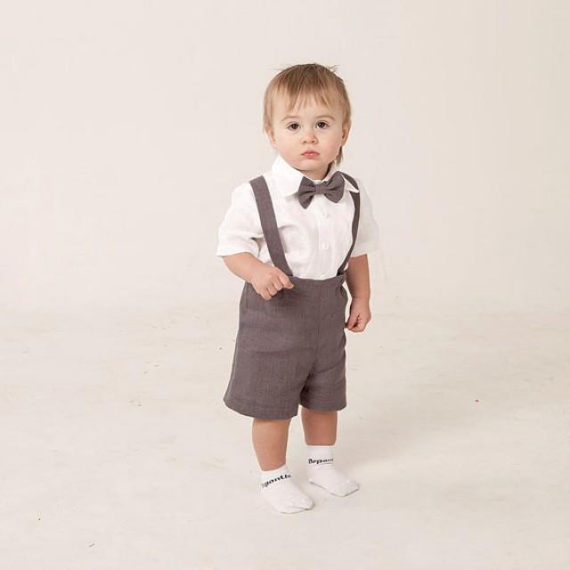 Boy Linen Suit Ring Bearer Outfit Baby Clothes Set Of 4 First Birthday Baptism Suspenders Kids Rustic Wedding Beach Grey Ready To Ship 2227589