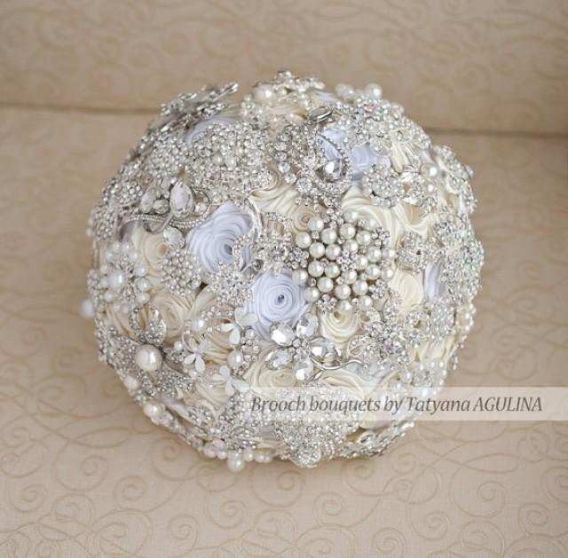 brooch wedding bouquets for sale ready to ship brooch bouquet ivory white and silver 2085