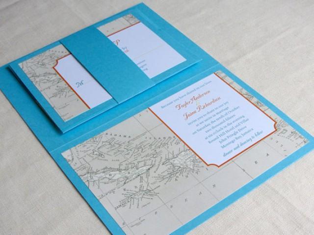 Caribbean Map Wedding Invitation Booklet Jamaica Bahamas Island Destination Cruise Vintage Custom Colors 2234446 Weddbook