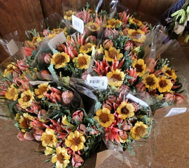 bulk flowers wedding 12 bouquets sunflower yellow pink dried floral 2112