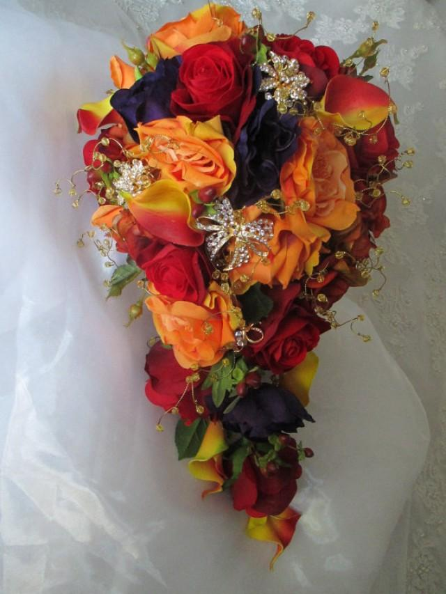 fall wedding bouquets cascade style orange and autumn fall rich 4020