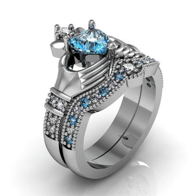 claddagh wedding ring sets claddagh ring sterling silver blue topaz and 2973