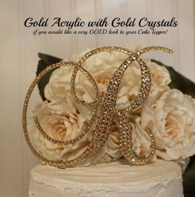 gold h wedding cake topper gold acrylic with gold swarovski crystals monogram 14786