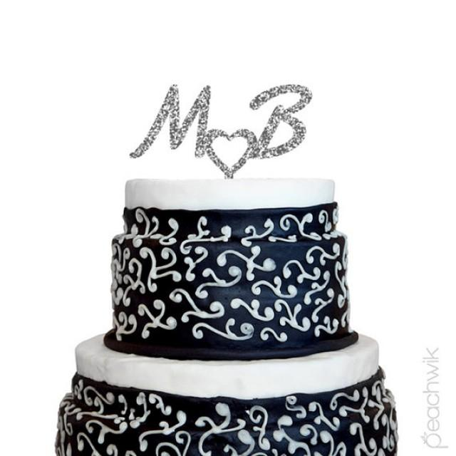 gold glitter wedding cake topper personalized glitter wedding cake topper monogram 14784