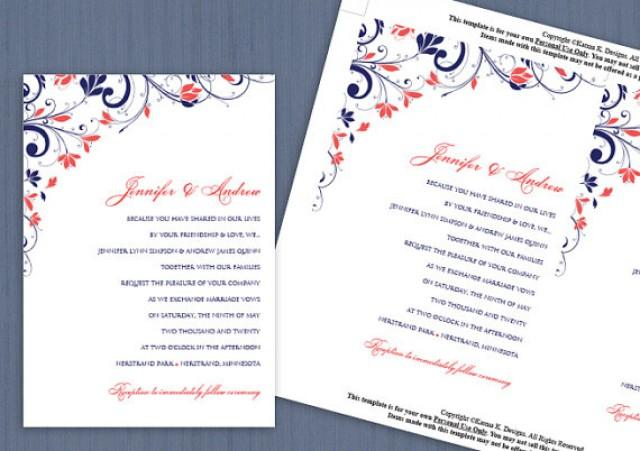 navy and coral wedding invitations wedding invitation template instantly 6112