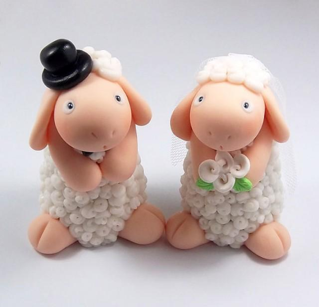 wedding cake toppers personalized figurines white sheep custom wedding cake topper 26575