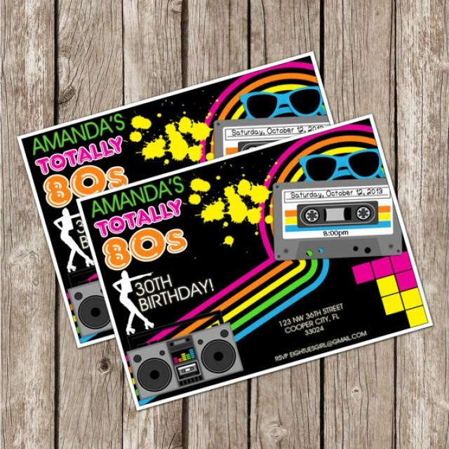 totally eighties retro party invite - 80s birthday party