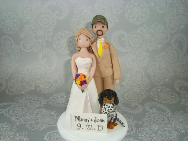 wedding cake toppers bride groom and dog amp groom with a customized wedding cake topper 26422