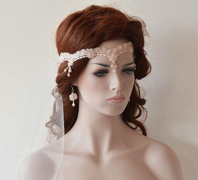 vintage style hair accessories wedding lace headband blush pink bridal headband bridal 3068
