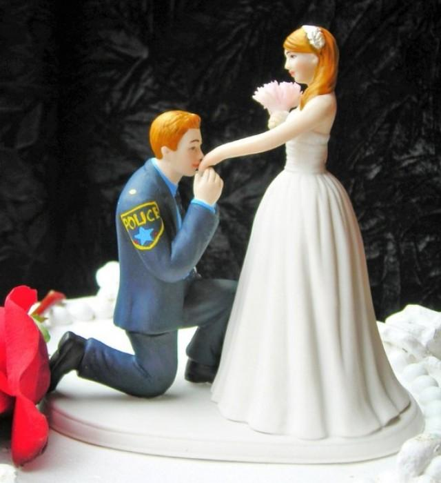 police officer wedding cake topper officer cop prince wedding cake topper kneel 18672