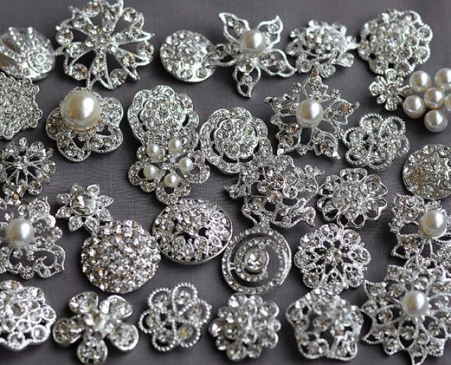 brooch wedding bouquets for sale 10 large assorted rhinestone button brooch 2085