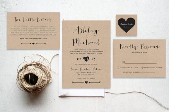 The Amethyst Suite Printable Wedding Invitation Minimalist Kraft Paper Rustic Garden Calligraphy 2299364 Weddbook