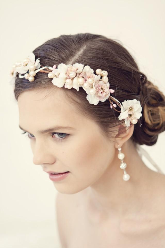 flower crown wedding hair pink flower crown rustic wreath wedding headband 4156