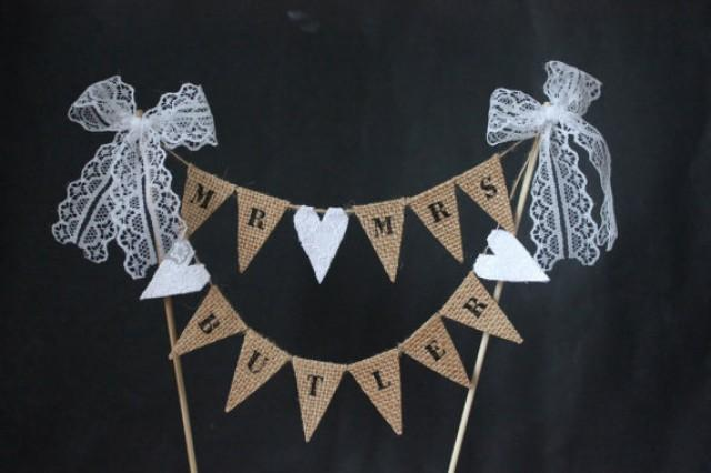 wedding cake bunting topper custom cake topper personalised mr and mrs wedding cake 22127