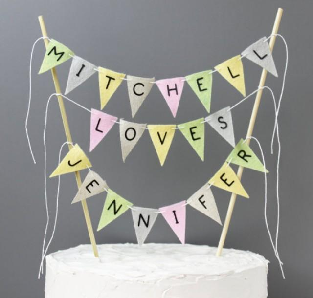 wedding cake topper bunting personalized wedding cake topper vintage inspired custom 26303
