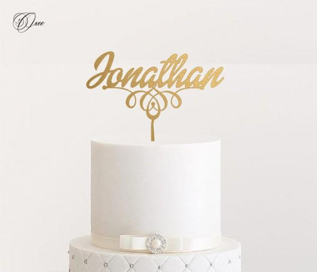 wedding cake topper personalized custom name wedding cake topper by oxee metallic gold and 8810