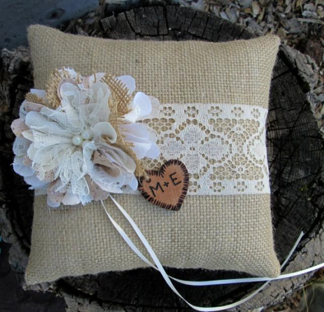 ring bearer pillow personalized ring bearer pillow burlap and lace wedding 29481