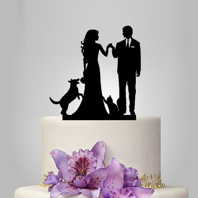 wedding cake toppers with dog and cat and groom silhouette wedding cake topper with 26630