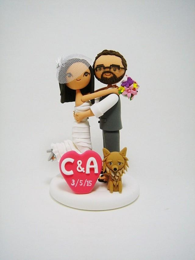 personalized wedding cake topper with dog lovely custom wedding cake topper with 2380482 18289