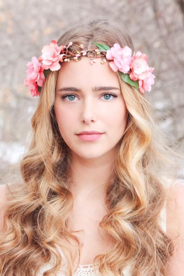 flower crown wedding hair peachy floral hair crown woodland flower crown bridal 4156