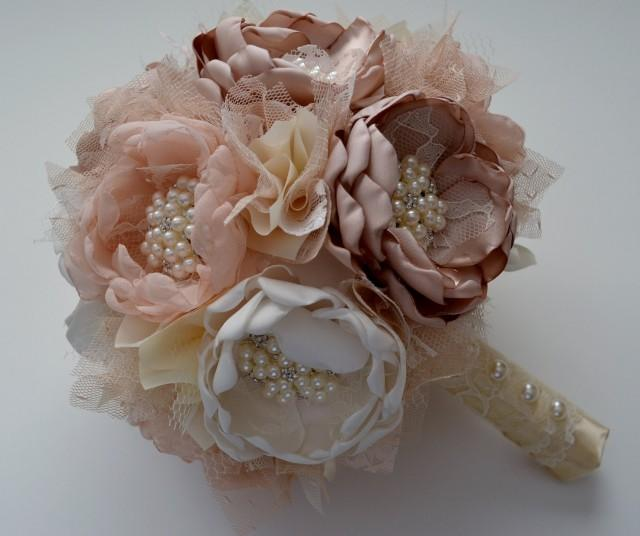 fabric wedding flowers fabric bouquet champagne and ivory bouquet 3964