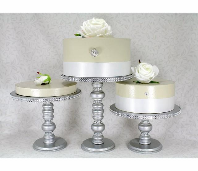 decorative cake stands for wedding cakes 3 silver cake stands set wooden amp rhinestone 13435