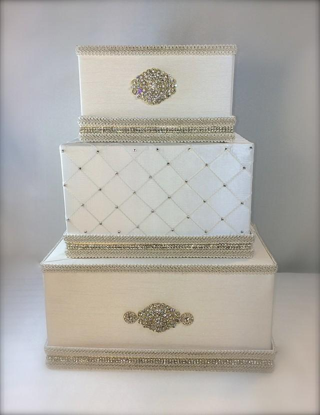 diy wedding cake gift card box wedding money box ivory and gold classic wedding card 13633