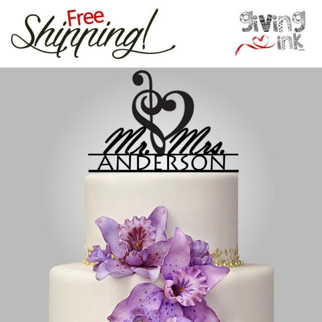 music wedding cake toppers wedding note cake topper mr amp mrs with last name 17670