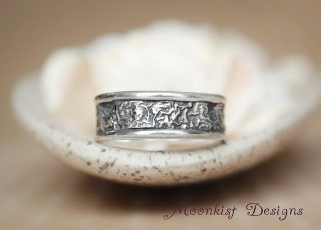 artisan wedding rings unique narrow reticulated silver wedding band handmade 1388