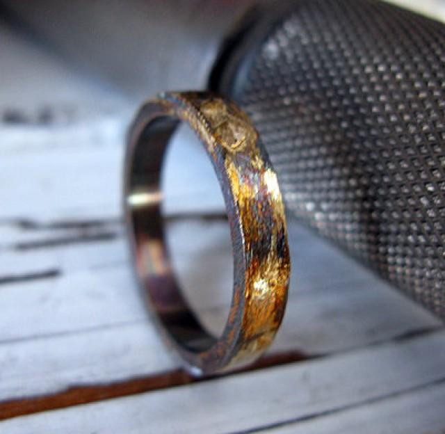 Mens Artisan Wedding Band Oxidized Sterling Silver With Yellow