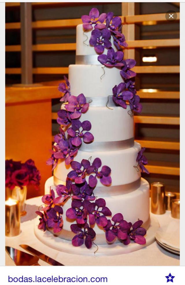 purple orchid wedding cake white with purple orchid cake 2432624 weddbook 6900