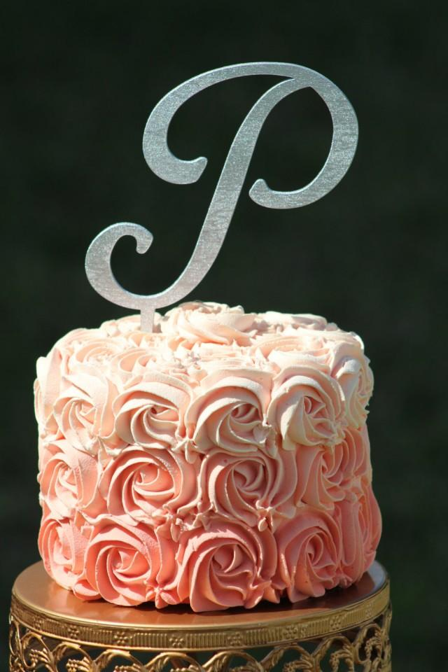 wedding cake toppers initials metal silver monogram wedding cake topper wooden cake topper 26512