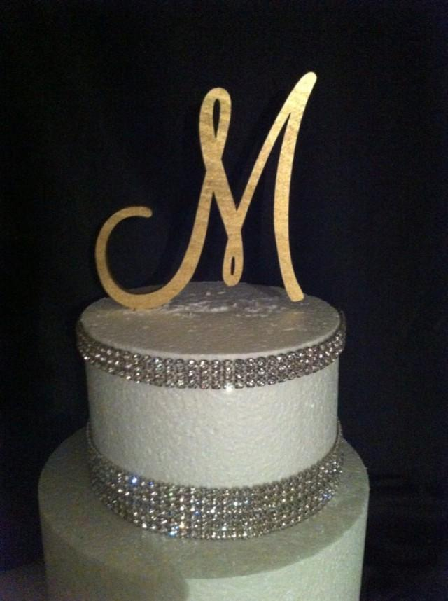 gold wedding cake topper initials painted single monogram cake topper gold cake topper 14836