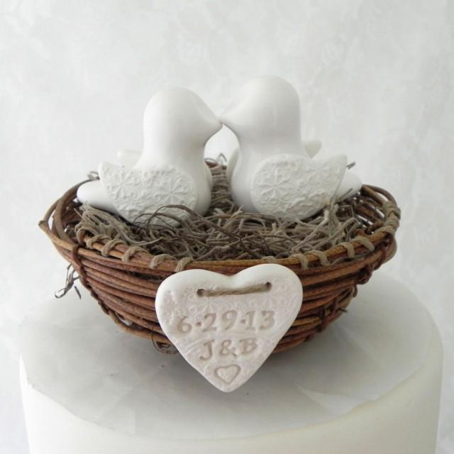 country chic wedding cake toppers rustic chic wedding cake topper ivory birds in nest 12978