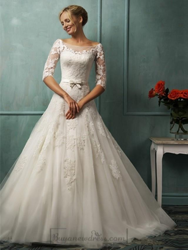a line wedding dresses with sleeves half sleeves illusion bateau neckline a line lace wedding 1199