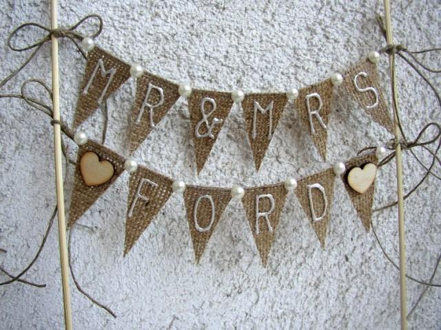 personalised wedding cake topper bunting personalized rustic cake topper rustic mr mrs banner 18240