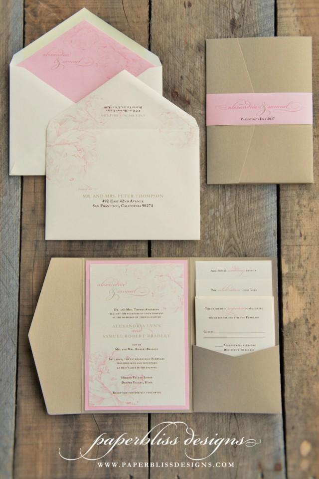 pink and gold wedding invitations blush pink peony wedding invitation suite pink and gold 6559