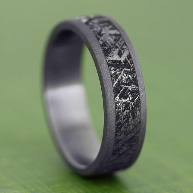 meteorite wedding ring handmade mimetic meteorite ring sandblasted titanium 5848